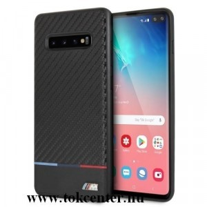 Samsung Galaxy S10 (SM-G973) BMW TRICOLOR műanyag telefonvédő (karbon minta) FEKETE