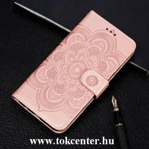 Huawei Y7 2019 (Y7 Prime 2019) Tok álló, bőr (FLIP, oldalra nyíló, asztali tartó funkció, csuklópánt, virág, mandala minta) ROZÉARANY