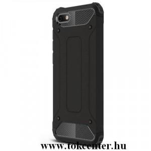 Huawei P Smart Z Defender műanyag telefonvédő (közepesen ütésálló, légpárnás sarok, gumi / szilikon belső, fémhatás) FEKETE