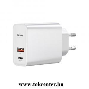 BASEUS hálózati töltő USB / Type-C aljzat (10V / 3000mA, 30W + Type-C kábel ) FEHÉR (TZCAFS-A02)