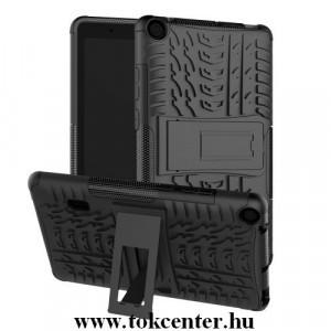 Nokia 4.2 Defender műanyag telefonvédő (közepesen ütésálló, gumi / szilikon belső, kitámasztó, autógumi minta) FEKETE