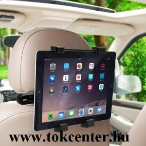 Autós tartó (fejtámlára rögzíthetó, 360°-ban forgatható, univezális, tablet, tv-hez, 145 mm x 105 mm - 195 mm-ig) FEKETE