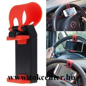 Univezális autós tartó (Car Phone Socket Holder, kormányra stb., 5.5''-ig) FEKETE / PIROS