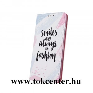 Huawei P Smart 2019 Tok álló, FLIP, szilikon keretes oldalra nyíló telefonvédő, asztali tartó funkció, ''Smiles''