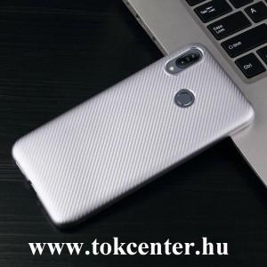 Samsung Galaxy A40 (SM-A405F) Szilikon telefonvédő (karbon minta) EZÜST