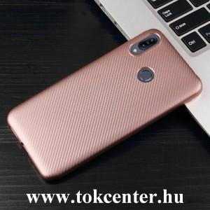 Samsung Galaxy A40 (SM-A405F) Szilikon telefonvédő (karbon minta) ROZÉARANY
