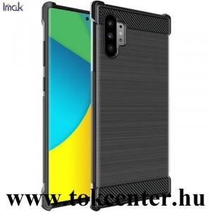 Samsung Galaxy Note 10 Plus (SM-N975F) IMAK VEGA szilikon telefonvédő (közepesen ütésálló, légpárnás sarok, szálcsiszolt, karbon minta) FEKETE