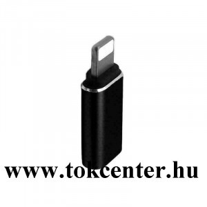Adapter (lightning 8 pin / Type-C aljzat) FEKETE
