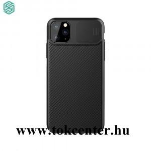 Apple iPhone 11 Pro Max NILLKIN CAMSHIELD szilikon telefonvédő (közepesen ütésálló, műanyag hátlap, csúsztatható kamera védelem, csíkos) FEKETE