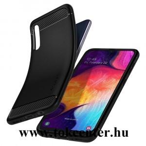 Samsung Galaxy A30s (SM-A307F) /Samsung Galaxy A50 (SM-A505F) SPIGEN RUGGED ARMOR szilikon telefonvédő (közepesen ütésálló, légpárnás sarok, karbon minta) FEKETE