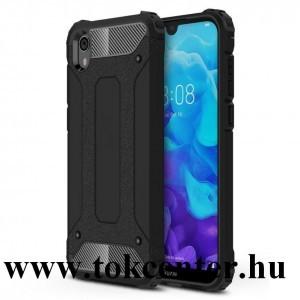 Honor 8S /Huawei Y5 (2019) Defender műanyag telefonvédő (közepesen ütésálló, légpárnás sarok, gumi / szilikon belső, fémhatás) FEKETE