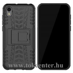 Honor 8S /Huawei Y5 (2019) Defender műanyag telefonvédő (közepesen ütésálló, gumi / szilikon belső, kitámasztó, autógumi minta) FEKETE