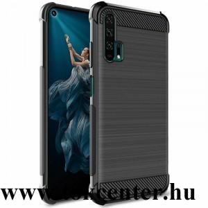 Honor 20 Pro IMAK VEGA telefonvédő gumi / szilikon (közepesen ütésálló, légpárnás sarok, szálcsiszolt, karbonminta) FEKETE