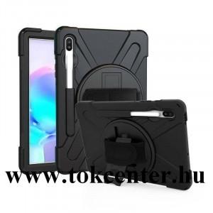 Samsung Galaxy Tab S6 10.5 LTE (SM-T865) /Samsung Galaxy Tab S6 10.5 WIFI (SM-T860) Műanyag telefonvédő (kézpánt, közepesen ütésálló, kitámasztó, 360°-ban forgatható) FEKETE