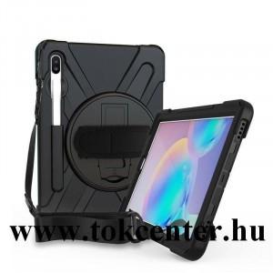 Samsung Galaxy Tab S6 10.5 LTE (SM-T865) /Samsung Galaxy Tab S6 10.5 WIFI (SM-T860) Műanyag telefonvédő (kézpánt, közepesen ütésálló, kitámasztó, 360°-ban forgatható, vállra akasztható) FEKETE