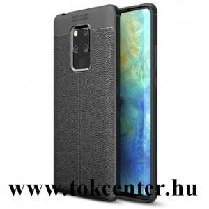 Huawei Mate 20X 5G Szilikon telefonvédő (közepesen ütésálló, bőr hatású, varrás minta) FEKETE