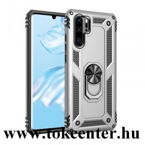 Huawei P30 Pro Defender műanyag telefonvédő (közepesen ütésálló, szilikon belső, telefontartó gyűrű, beépített fémlemez) EZÜST