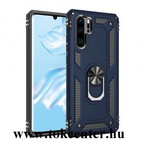 Huawei P30 Pro Defender műanyag telefonvédő (közepesen ütésálló, szilikon belső, telefontartó gyűrű, beépített fémlemez) KÉK