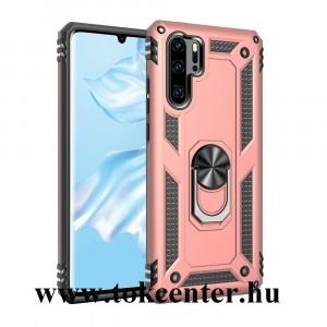 Huawei P30 Pro Defender műanyag telefonvédő (közepesen ütésálló, gumi/szilikon belső, telefontartó gyűrű, beépített fémlemez) ROZÉARANY