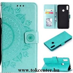 Honor 20 / Huawei Nova 5T Tok álló, bőr hatású (FLIP, oldalra nyíló, asztali tartó funkció, csuklópánt, mandala minta) CYAN
