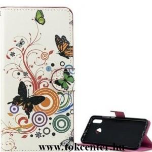 Honor 20 / Huawei Nova 5T Tok álló, bőr hatású (FLIP, oldalra nyíló, asztali tartó funkció, pillangó, kör minta) FEHÉR