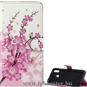 Honor 20 / Huawei Nova 5T Tok álló, bőr hatású (FLIP, oldalra nyíló, asztali tartó funkció, virág minta) FEHÉR