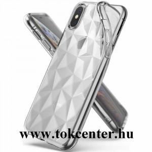 Apple iPhone X 5.8 / Apple iPhone XS 5.8 Telefonvédő gumi / szilikon (3D, gyémánt minta) ÁTLÁTSZÓ