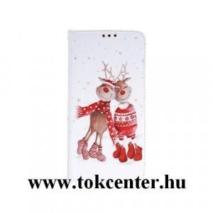 Samsung A505 Galaxy A50 Tok álló, bőr hatású (FLIP, oldalra nyíló, asztali tartó funkció, KARÁCSONYI, páros rénszarvas minta) fehér - piros