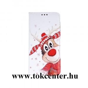 Apple iPhone 11 Pro (5,8'') Tok álló, bőr hatású (FLIP, oldalra nyíló, asztali tartó funkció, KARÁCSONYI, rénszarvas 1) fehér - piros