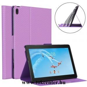 Lenovo Tab E10 (TB-X104F) Tok álló, bőr hatású (FLIP, oldalra nyíló, asztali tartó funkció, karbon minta) LILA