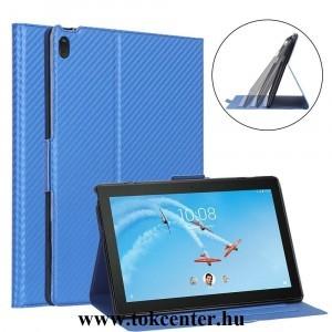 Lenovo Tab E10 (TB-X104F) Tok álló, bőr hatású (FLIP, oldalra nyíló, asztali tartó funkció, karbon minta) VILÁGOSKÉK
