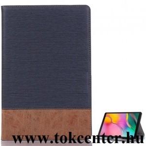 Samsung Galaxy Tab A 10.1 LTE (2019) SM-T515 /Samsung Galaxy Tab A 10.1 WIFI (2019) SM-T510 Tok álló, bőr hatású (aktív flip, oldalra nyíló, asztali tartó funkció, textil hatás) SÖTÉTKÉK