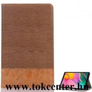 Samsung Galaxy Tab A 10.1 LTE (2019) SM-T515 /Samsung Galaxy Tab A 10.1 WIFI (2019) SM-T510 Tok álló, bőr hatású (aktív flip, oldalra nyíló, asztali tartó funkció, textil hatás) BARNA