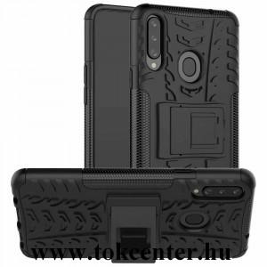 Samsung Galaxy A20s (SM-A207F) Defender műanyag telefonvédő (közepesen ütésálló, szilikon belső, kitámasztó, autógumi minta) FEKETE
