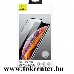 Apple iPhone 11 Pro Max / Apple iPhone XS Max 6.5 USAMS képernyővédő fólia (3D full cover, íves, 0.33 mm, 9H) FEKETE