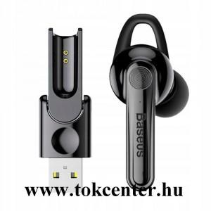 BASEUS BLUETOOTH fülhallgató MONO (mágneses, mikrofon, multipoint + USB töltőállomás) FEKETE (NGCX-01)