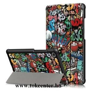 Lenovo Tab M7 (TB-7305F) Tok álló, bőr hatású (aktív flip, oldalra nyíló, TRIFOLD asztali tartó funkció, graffiti minta) SZÍNES