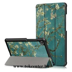 Lenovo Tab M7 (TB-7305F) Tok álló, bőr hatású (aktív flip, oldalra nyíló, TRIFOLD asztali tartó funkció, virág minta) KÉK