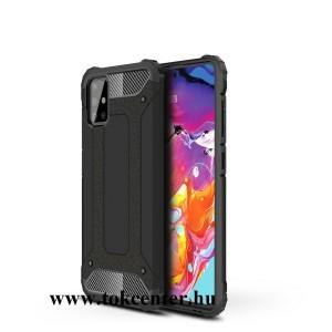 Samsung Galaxy A51 (SM-A515F) Defender műanyag telefonvédő (közepesen ütésálló, légpárnás sarok, szilikon belső, fémhatás) FEKETE