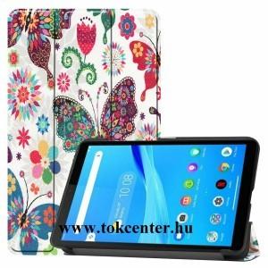 Lenovo Tab M7 (TB-7305F) Tok álló, bőr hatású (aktív flip, oldalra nyíló, TRIFOLD asztali tartó funkció, pillangó, virág minta) FEHÉR