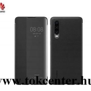 Huawei P30 Tok álló, bőr hatású (aktív flip, oldalra nyíló, Smart View Cover) FEKETE (51992860)