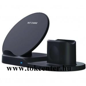 Asztali töltő (vezeték nélküli töltés, gyorstöltés támogatás, 3 eszköz egyidejű töltése) FEKETE Apple Watch, AirPods