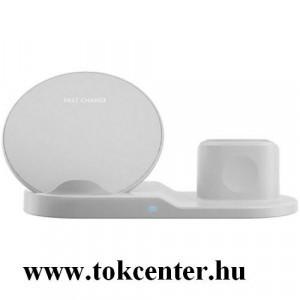 Asztali töltő (vezeték nélküli töltés, gyorstöltés támogatás, 3 eszköz egyidejű töltése) FEHÉR Apple Watch, AirPods