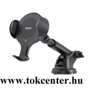 HOCO CA60 autós tartó (tapadókorongos,műszerfalra, szellőzőre, automata, indukciós,vezeték nélküli töltés) FEKETE