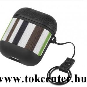 Apple AirPods / AirPods 2 HOCO WB17 szilikon tok (karabíner) FEKETE / ZÖLD