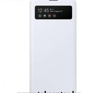 Samsung Galaxy A71 (SM-A715F) Tok álló (aktív flip, oldalra nyíló, hívószámkijelzés, Smart View Cover) FEHÉR (EF-EA715PWEG)