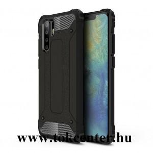 Huawei P30 Pro Defender műanyag telefonvédő (közepesen ütésálló, légpárnás sarok, szilikon belső, fémhatás) FEKETE