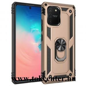 Samsung Galaxy S10 Lite (SM-G770F) Defender műanyag telefonvédő (közepesen ütésálló, szilikon belső, telefontartó gyűrű, beépített fémlemez) ARANY