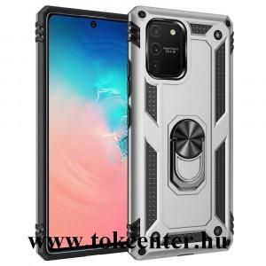 Samsung Galaxy S10 Lite (SM-G770F) Defender műanyag telefonvédő (közepesen ütésálló, szilikon belső, telefontartó gyűrű, beépített fémlemez) EZÜST