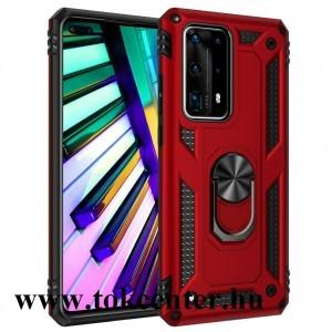 Huawei P40 Defender műanyag telefonvédő (közepesen ütésálló, szilikon belső, telefontartó gyűrű, beépített fémlemez) PIROS